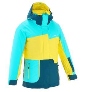 Skijacke Free 500 Mädchen blau/gelb