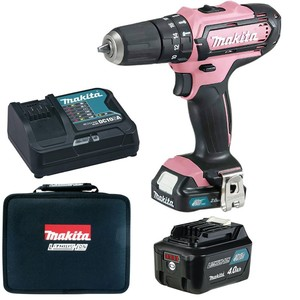 Makita Akku Schlagbohrschrauber HP331DSAP1 Pink 1 Akkus 2,0Ah + 1 Akku 4,0 Ah 10,8 Volt in Tasche