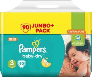 Pampers Baby-Dry Größe 3 5–9 kg Jumbo Plus Pack, 90 Windeln