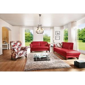 MONDO Sofa QUADRA Stoffbezug Rot ca. 174 x 84 x 86 cm