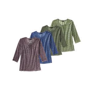 Laura Torelli Classic Damen-Shirt mit Ringelmuster
