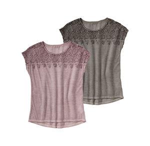 Laura Torelli Classic Damen-T-Shirt mit hübscher Spitze
