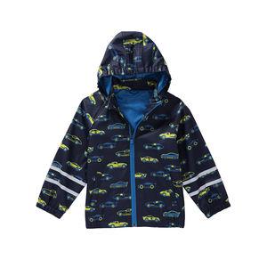Kids Jungen-Regenjacke mit Rennauto-Muster