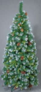 Künstlicher Weihnachtsbaum mit Schnee und Tannenzapfen