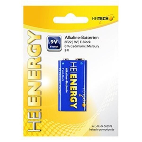 Heitech Alkaline Batterien 1-er Pack 9V/E-Block