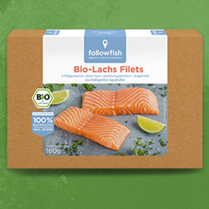 Followfish Bio-Lachs Filets gefroren,  jede 160-g-Packung