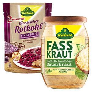 Kühne Rotkohl, Sauerkraut oder Fasskraut versch. Sorten, jeder 400-g-Beutel/jedes 720-g-Glas/650 g Abtropfgewicht