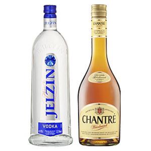 Boris Jelzin Vodka und weitere Sorten oder Chantré Weinbrand 37,5/ 38 % Vol., jede 0,7-l- Flasche