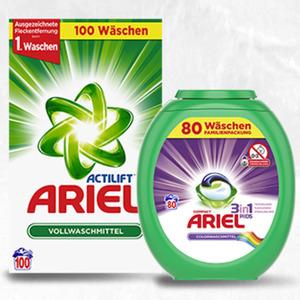 Ariel Waschmittel 100/80 Waschladungen, versch. Sorten, jede Packung