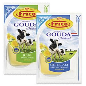 Frico Gouda jung oder mittelalt Holländischer Schnittkäse, 48 % Fett i. Tr.,  jede 150/180-g-Packung