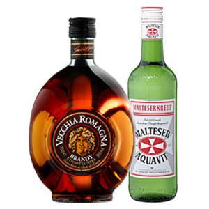 Malteserkreuz Aquavit oder Vecchia Romagna 40/38 % Vol., jede 0,7-l-Flasche