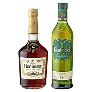 Hennessy Cognac VS oder Glenfiddich 12 Jahre 40/40 % Vol.,  jede 0,7-l-Flasche