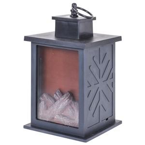 Laterne mit künstlichem Feuer aus Kunststoff in schwarz