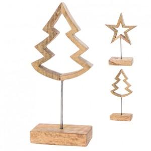 Holzfigur Baum oder Stern auf Metallfuß