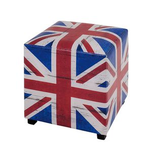 Polsterhocker Great Britain - Blau/Rot/Weiß, Home Design