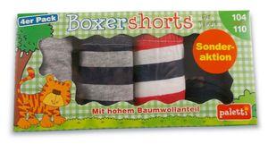 Boxershorts für Jungs 4er 116-122 grau-dunkelblau/rot-weiß-dunkelblau gestreift