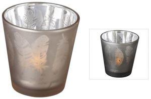 Teelichtglas - Federn - 6,5 x 6,5 cm - verschiedene Farben