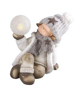 Deko Winterkind mit LED-Ball - Magnesia, Kunststoff