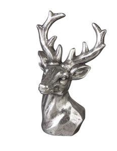 Deko Hirschkopf - silbergrau - aus Terrakotta
