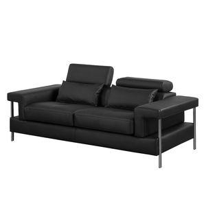 Sofa Skibsby (2-Sitzer) Kunstleder - Schwarz, roomscape