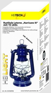 Heitech Rustikale Laterne HurricaneIII, blau