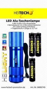 Heitech LED Alu Taschenlampe mit 9LEDs