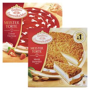 Coppenrath & Wiese Meistertorte Mandel Bienenstich oder Erdbeer-Frischkäse gefroren, jede 800/1100-g-Packung und weitere Sorten