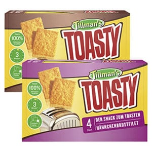 Tillman´s Toasty Hähnchenbrustfilet oder Southern Fried Chicken gefroren, jede 280-g-Packung und weitere Sorten