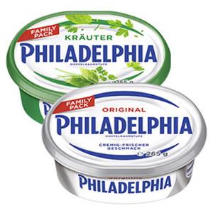 Philadelphia Deutsche Frischkäsezubereitung, 70 % Fett i. Tr./14 % Fett absolut, versch. Sorten, jede 265-g-Schale