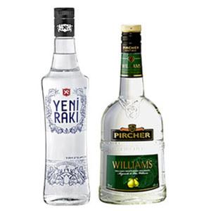 Pircher Williams und weitere Sorten oder Yeni Raki 40/45 % Vol.,  jede 0,7-l-Flasche