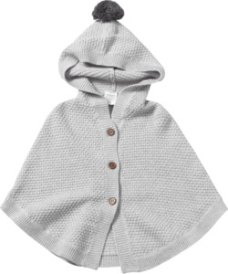 ALANA Baby-Strickponcho, Gr. 80, in Bio-Baumwolle und Schurwolle, graumeliert, für Mädchen und Jungen