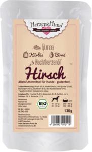 HerzensHund Nassfutter für Hunde, Hirsch mit Bio Quinoa, MP 15x130g