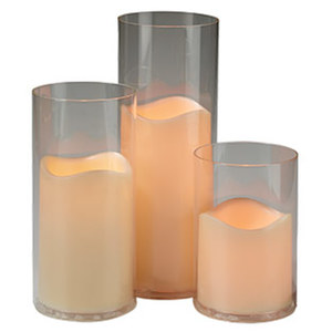 LED-Kerzen im Glas - 3-teilig - batteriebetrieben (o. Batterien)