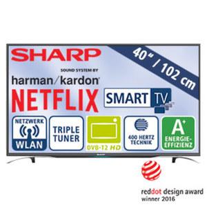 "40""-FullHD-LED-TV LC-40CFG6352E • HbbTV, H.265 • 3 HDMI-/2 USB-Anschlüsse, CI+ • Stand-by: 0,5 Watt, Betrieb: 45 Watt • Maße: H 54,5 x B 91,6 x T 6,7 cm • Energie-Effizienz A+ (Spektrum"