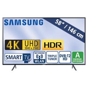 "58""-Ultra-HD-LED-TV UE58NU7179 • HbbTV, H.265, HDR (HDR 10+), Quad-Core • 3 HDMI-/2 USB-Anschlüsse, CI+ • 20 Watt RMS • Stand-by: 0,5 Watt, Betrieb: 107 Watt • Maße: H 75,7 x B 130,1 x"