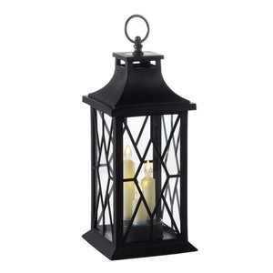 ProVida Laterne mit LED-Kerzen in Schwarz