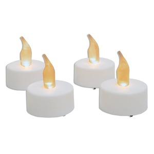 4er-Set LED-Teelichte - weiß - Kunststoff