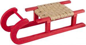 Deko-Schlitten - aus Holz - 30,5 x 11 x 7,5 cm - rot