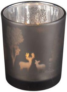 Teelichtglas - Rentiere - 5,5 x 6,5 cm