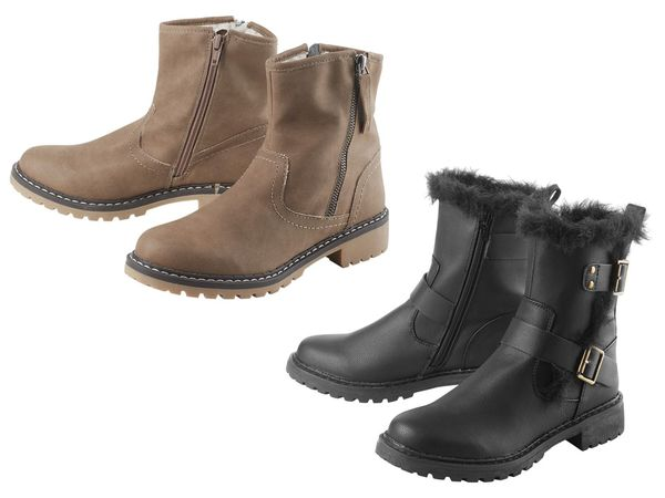 ESMARA® Boots Damen, angenehm weiches Warmfutter, Obermaterial aus Leder und Textil