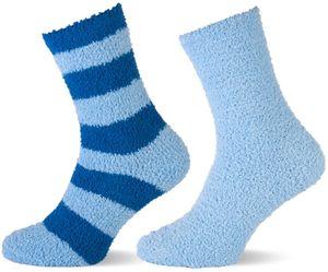 Kinder Kuschelsocken - hellblau u. hellblau/blau gestreift Gr. 31/34