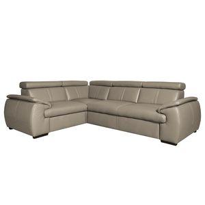 Ecksofa Olival I Echtleder - 2,5-Sitzer davorstehend rechts - Schlamm, Nuovoform
