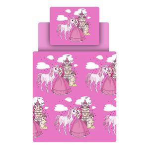 Kinderbettwäschenset Prinzessin - Pink / Weiß, Ticaa