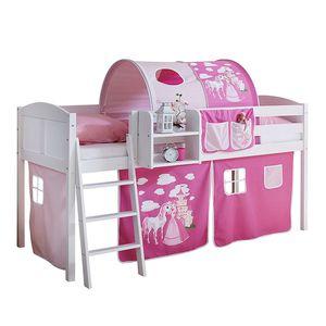 Halbhochbett Eric Motiv - Kiefer massiv/Textil - Weiß/Pink-Rosa - Basismodell, Ticaa