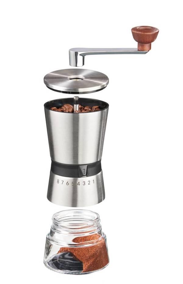 Präzisions-Kaffeemühle, Edelstahl, Kegelmahlwerk mit 8 Mahlgraden