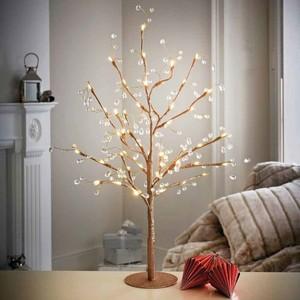 Lichterbaum gold 70 cm mit Juwelen und 48 LED-Lichtern