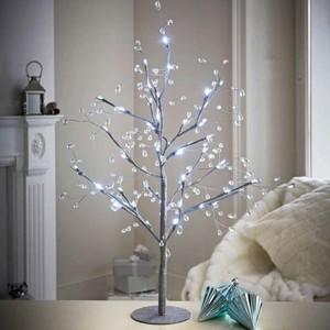 Lichterbaum silber 70 cm mit Juwelen und 48 LED-Lichtern