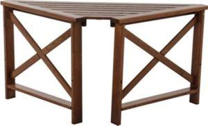 Massivholz Tisch OSLO Eckablage mit 2 Armlehnen Braun