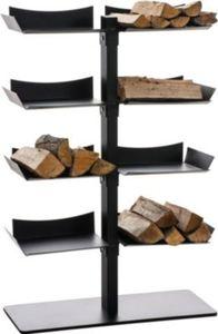 CLP Exklusiver Kaminholzständer ZANKA aus schwarzem Metall Kaminholzregal mit 8 Ablagen 110 x 72 x 30 cm