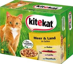 Kitekat Meer & Land in Gelee Katzenfutter nass Multipack 12x 100 g